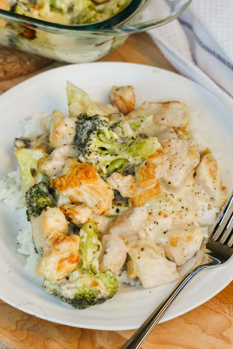 plated Broccoli Chicken Divan with a fork
