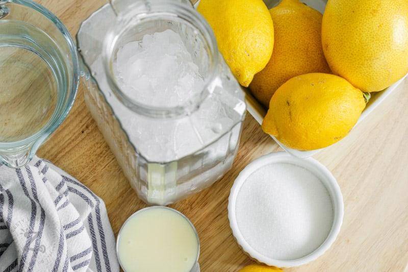 Creamy Lemonade ingredients on a table