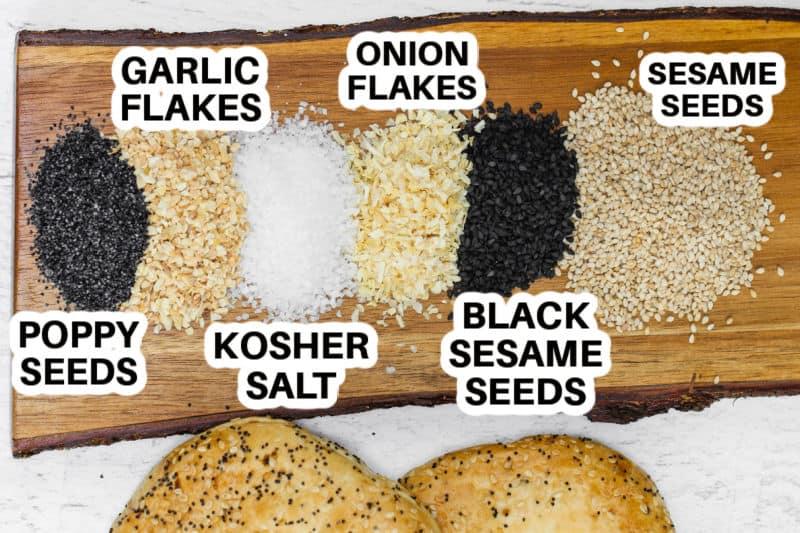 close up of seasonings to make Everything Bagel Seasoning Recipe with titles