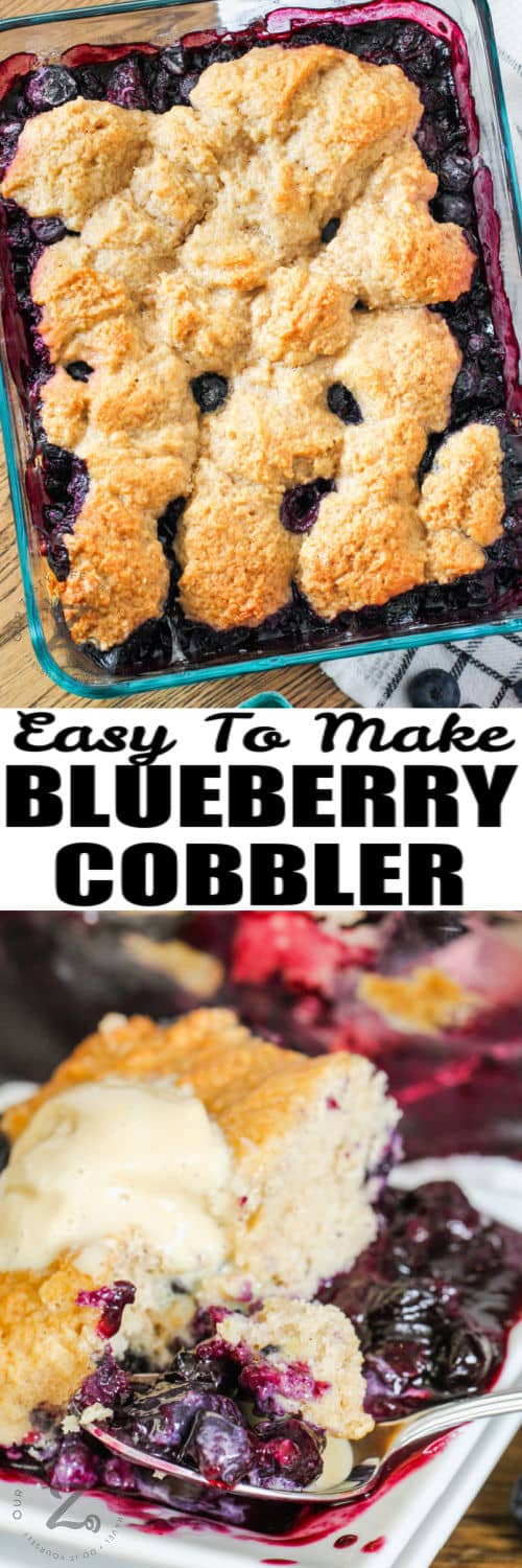 Blueberry Cobbler baked in the pan and plated with a title
