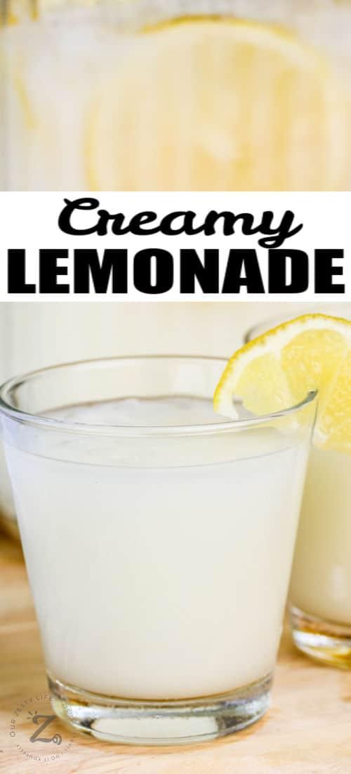 close up of Creamy Lemonade in glasses