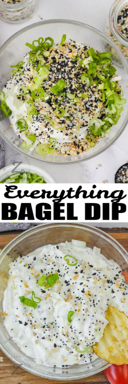 Everything Bagel Dip before mixing and after with a title