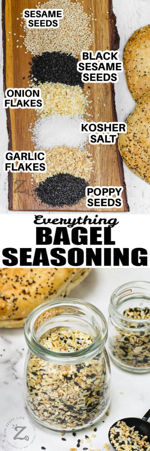 Everything Bagel Seasoning Recipe on a wooden board and in a jar with a title