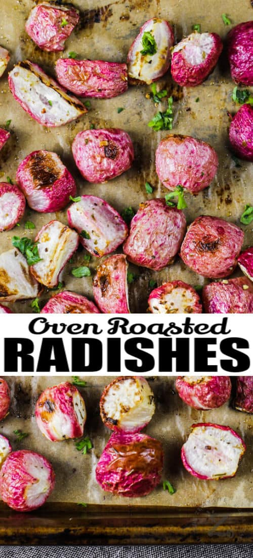 cooked Oven Roasted Radishes with a title