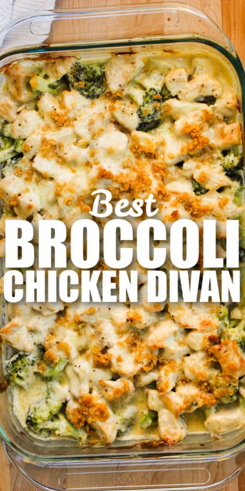 Broccoli Chicken Divan cooked with writing