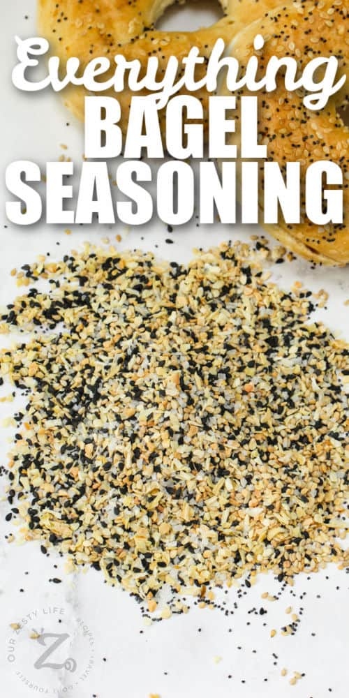 mixed Everything Bagel Seasoning Recipe on a table with writing