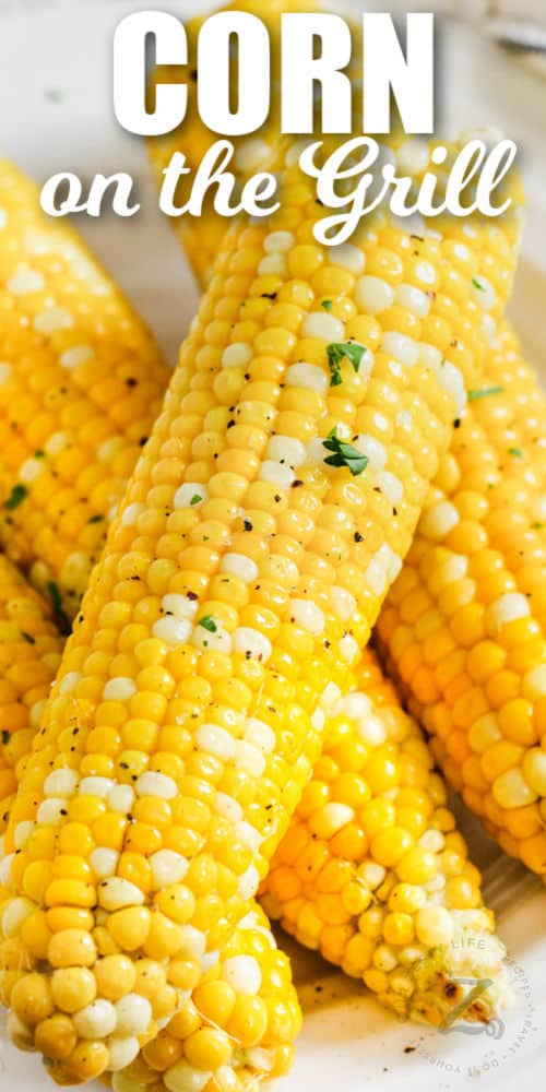 cooked Grilled Corn on a plate with writing