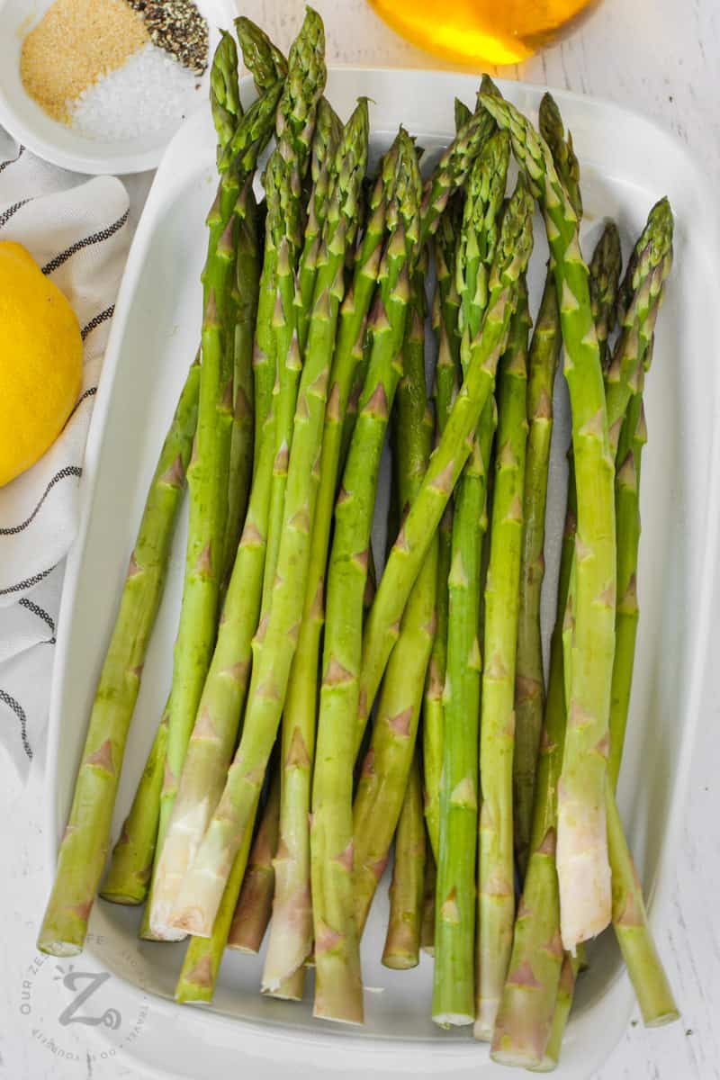 Oven Roasted Asparagus ingredients on a table