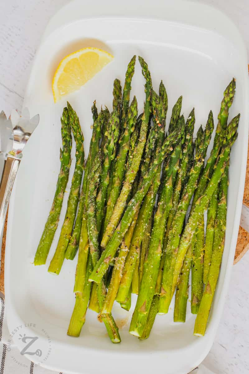 top view of cooked and plated Oven Roasted Asparagus