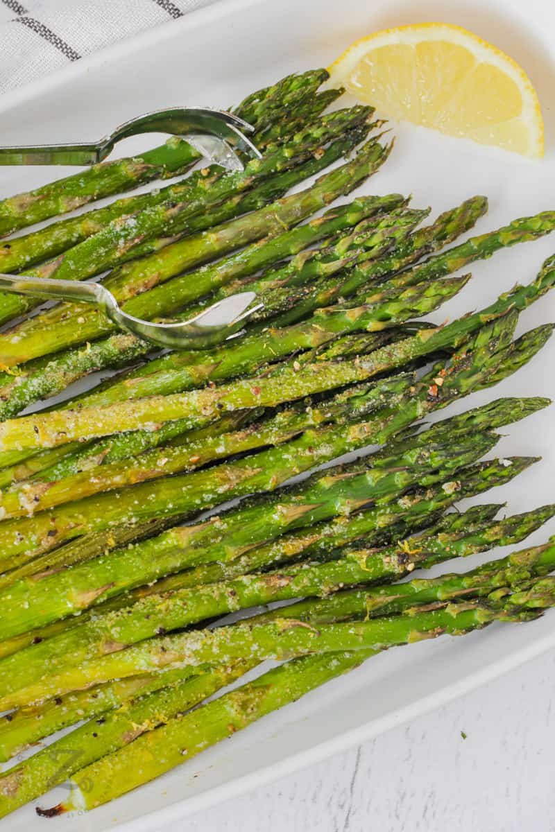 close up of plated Oven Roasted Asparagus
