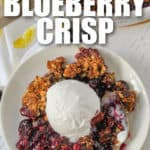 Blueberry Crisp with ice cream and writing