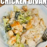 plated Broccoli Chicken Divan with writing