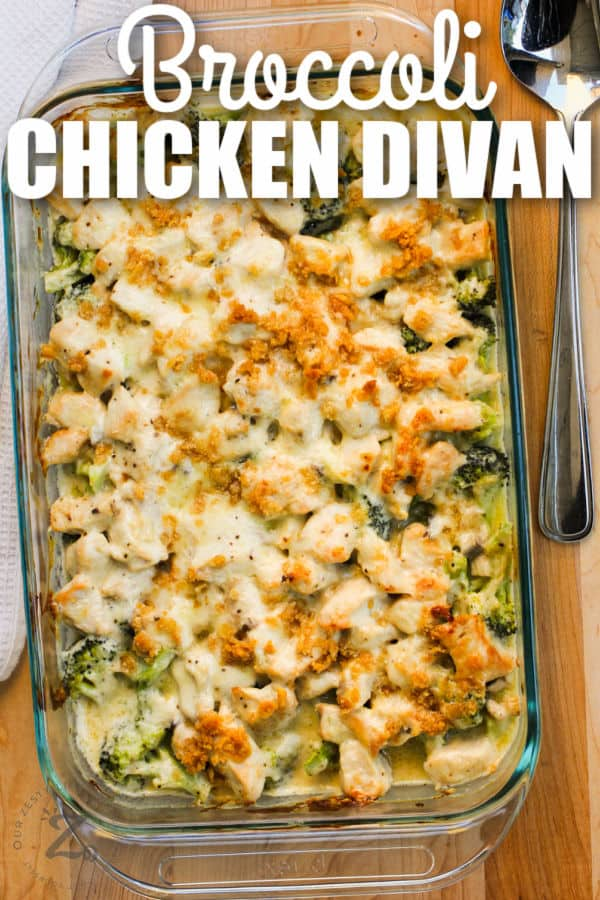 cooked Broccoli Chicken Divan in the casserole dish and a title