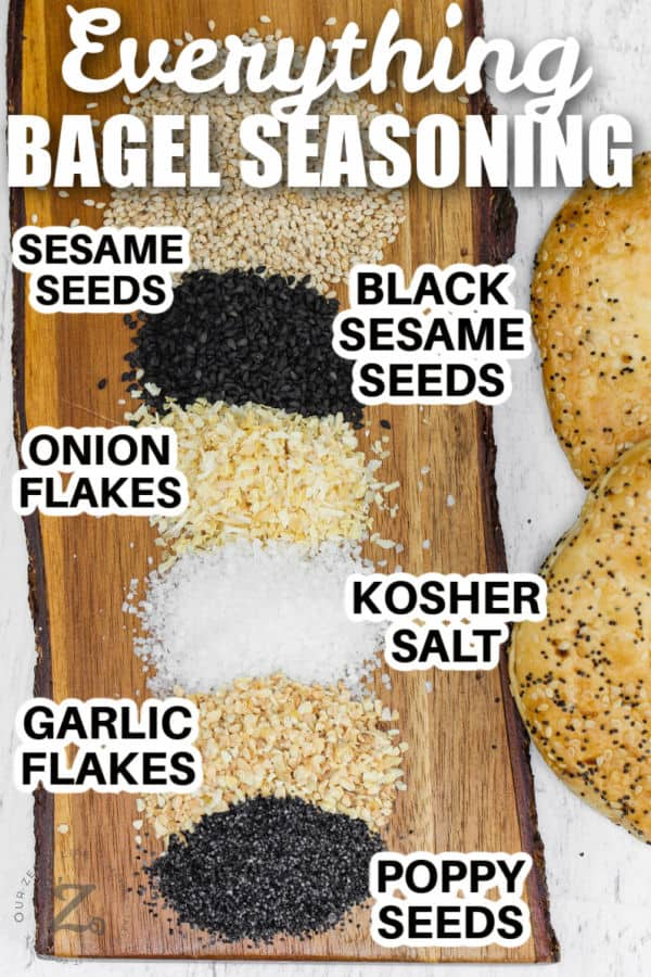 Everything Bagel Seasoning Recipe with labels and a title