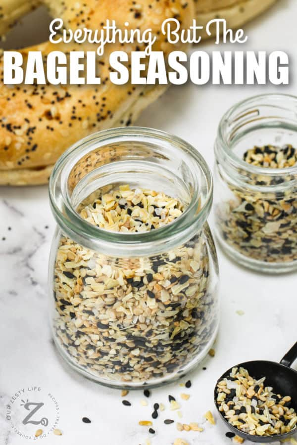 jar of Everything Bagel Seasoning Recipe with a title