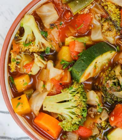 close up of Weight Loss Vegetable Soup Recipe in a bowl
