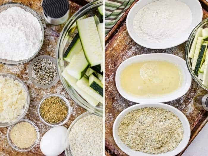 process of adding ingredients to bowls to make breading for Baked Zucchini Sticks