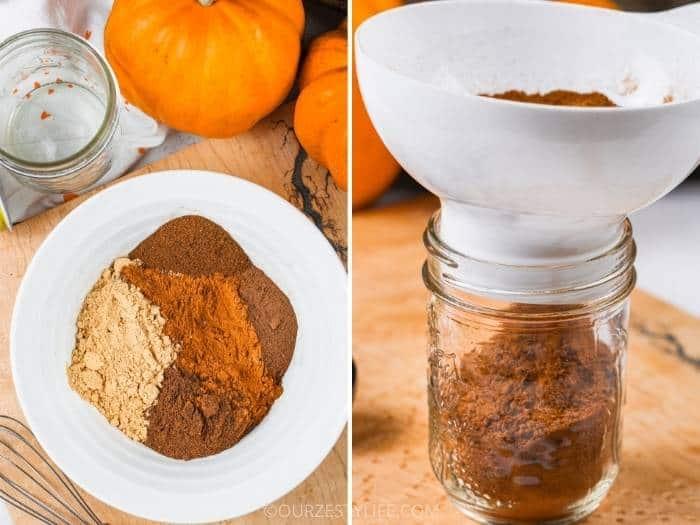 process of adding Pumpkin Spice to jar