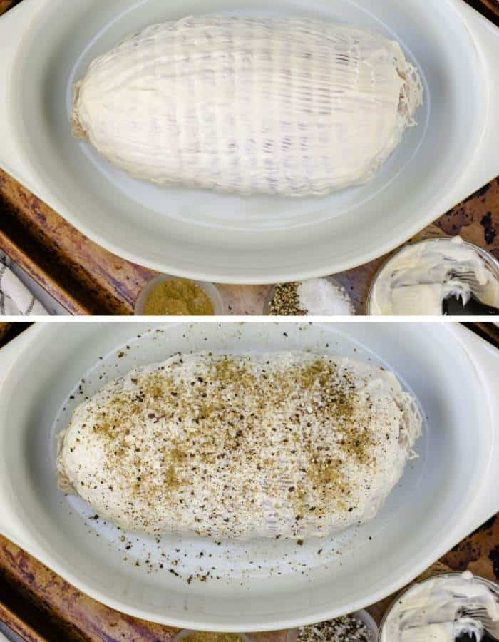 process of adding ingredients to pot to make Roast Turkey Breast