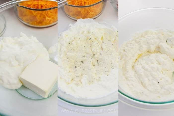 process of adding ingredients together to make Crack Chicken Casserole