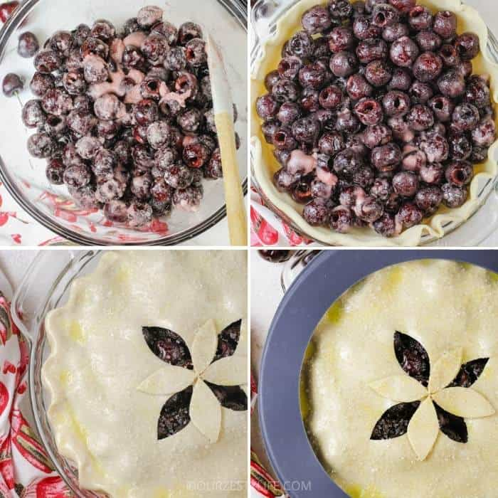 process of adding ingredients to pie shell to make Cherry Pie
