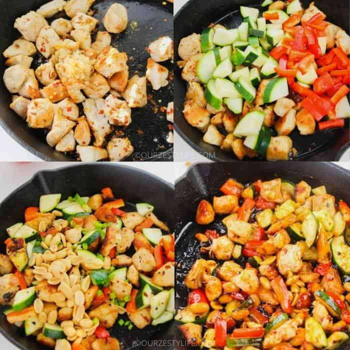 process of making Kung Pao Chicken