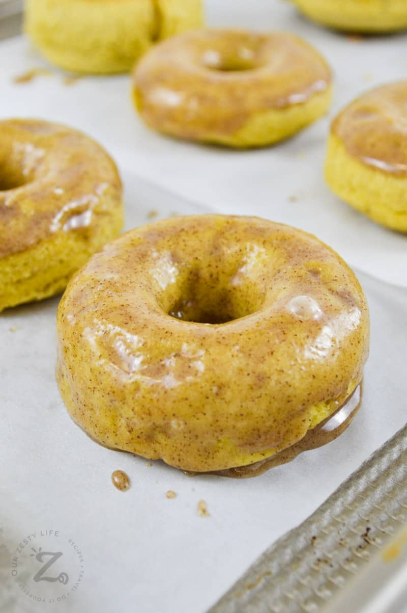 cooked and glazed Baked Apple Donuts