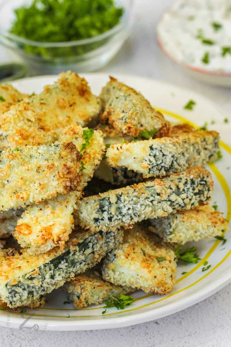 close up of Baked Zucchini Sticks on a plate
