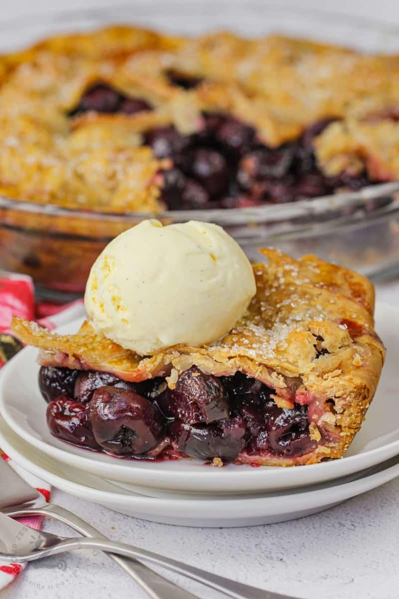 plated Cherry Pie with ice cream