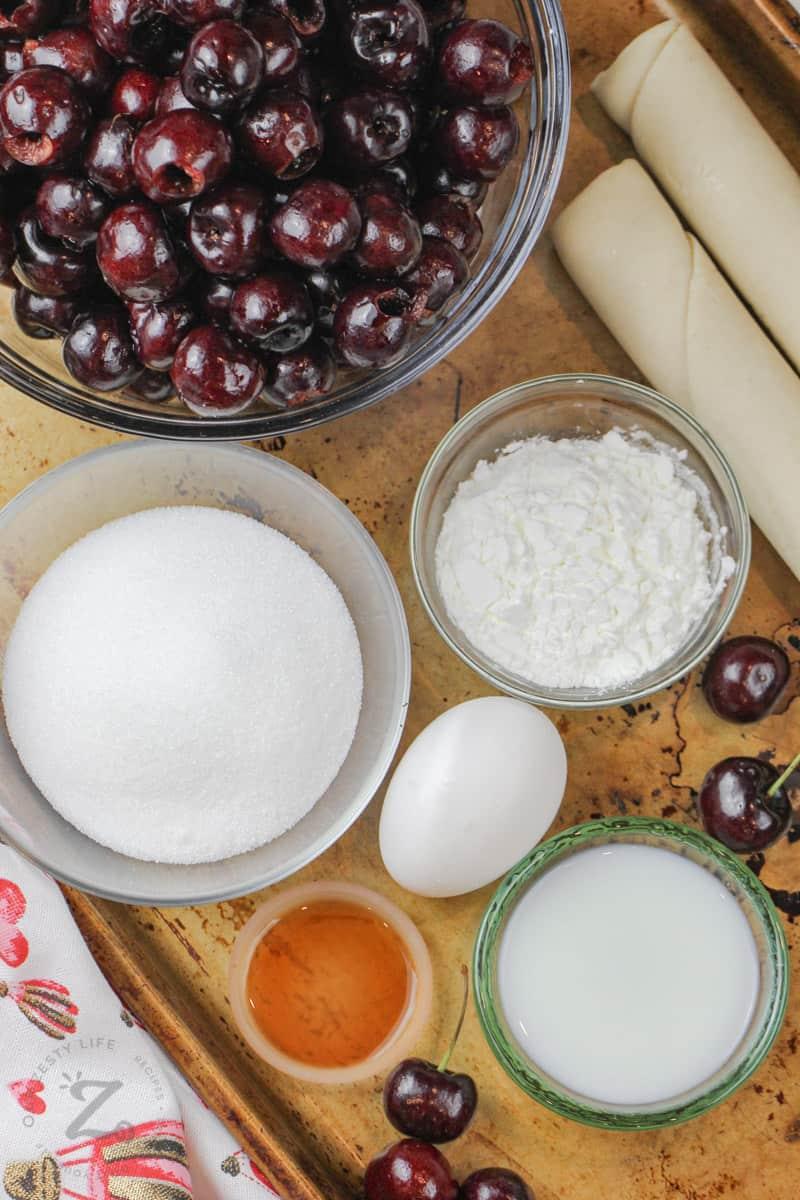 Cherry Pie ingredients on a baking sheet