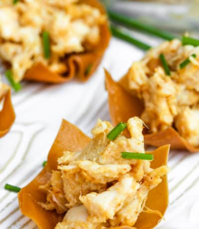 Close up of a chicken wonton cup