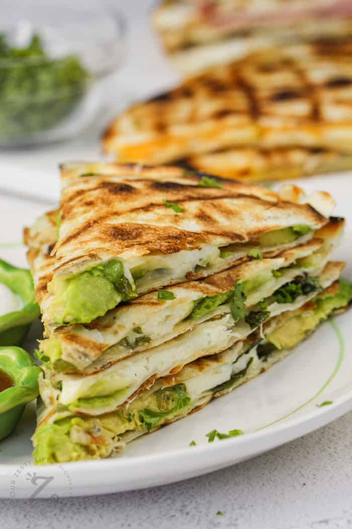 close up of veggie quesadillas on a plate