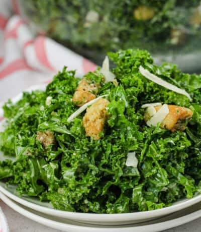 close up of Kale Caesar Salad
