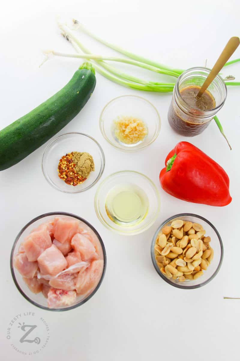 ingredients to make Kung Pao Chicken