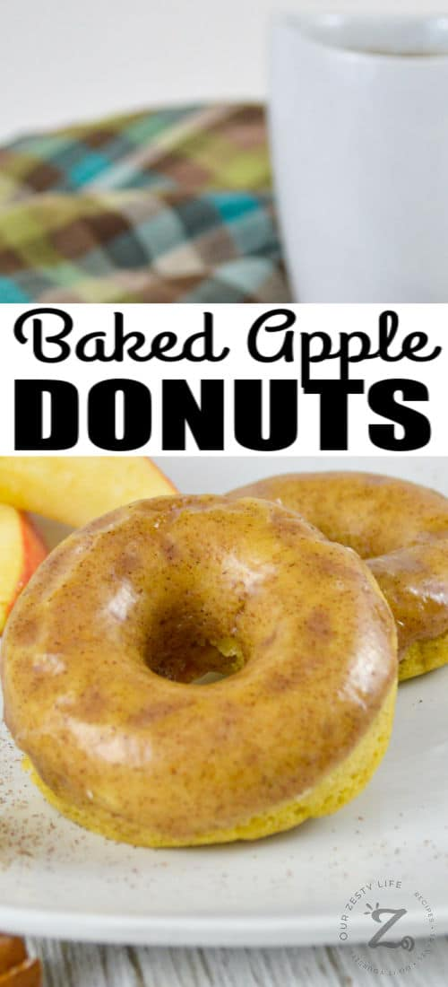 Baked Apple Donuts on a plate with a title