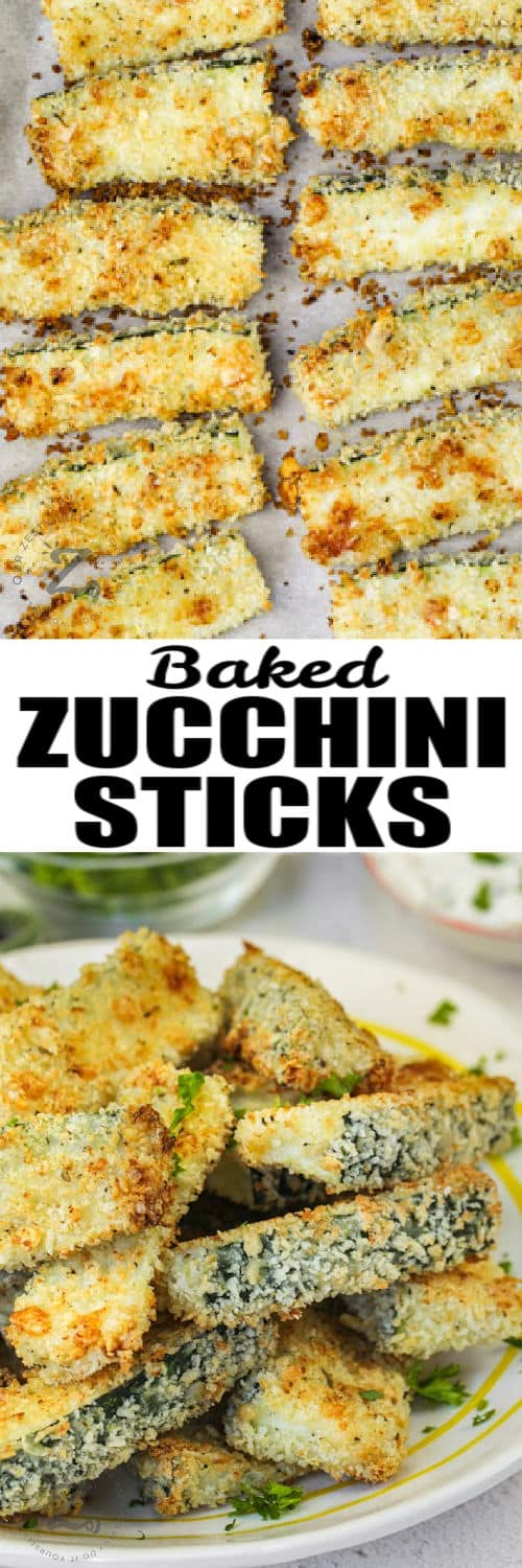 Baked Zucchini Sticks on a baking sheet and plated with a title