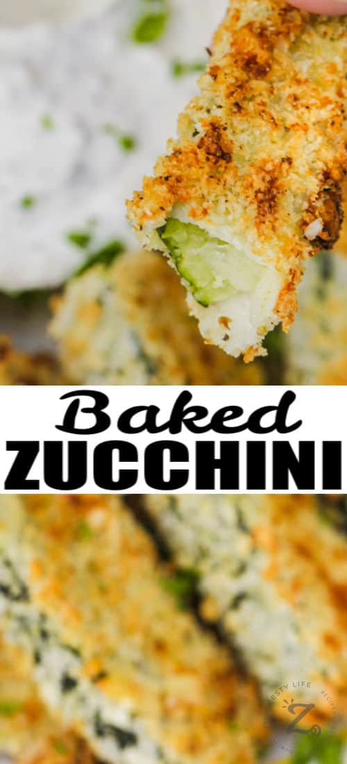 Baked Zucchini Sticks with a bite taken out of one and a title