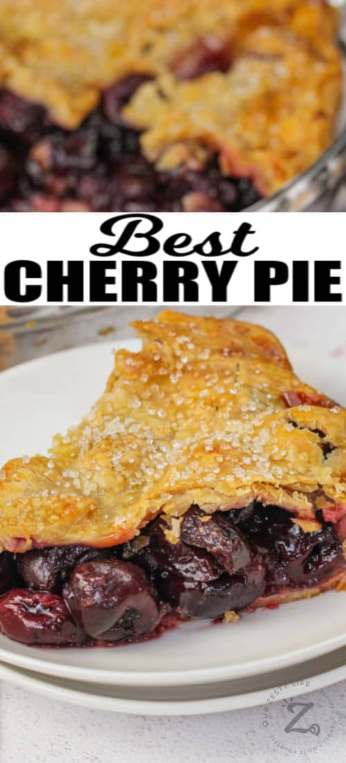 plated Cherry Pie with a title