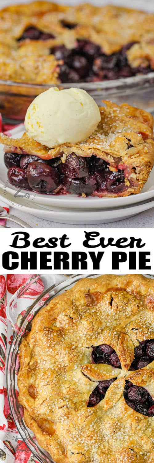 Cherry Pie with plated dish and ice cream with a title