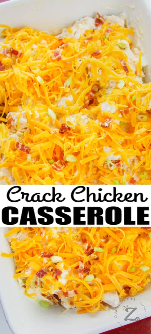 Crack Chicken Casserole before cooking with writing