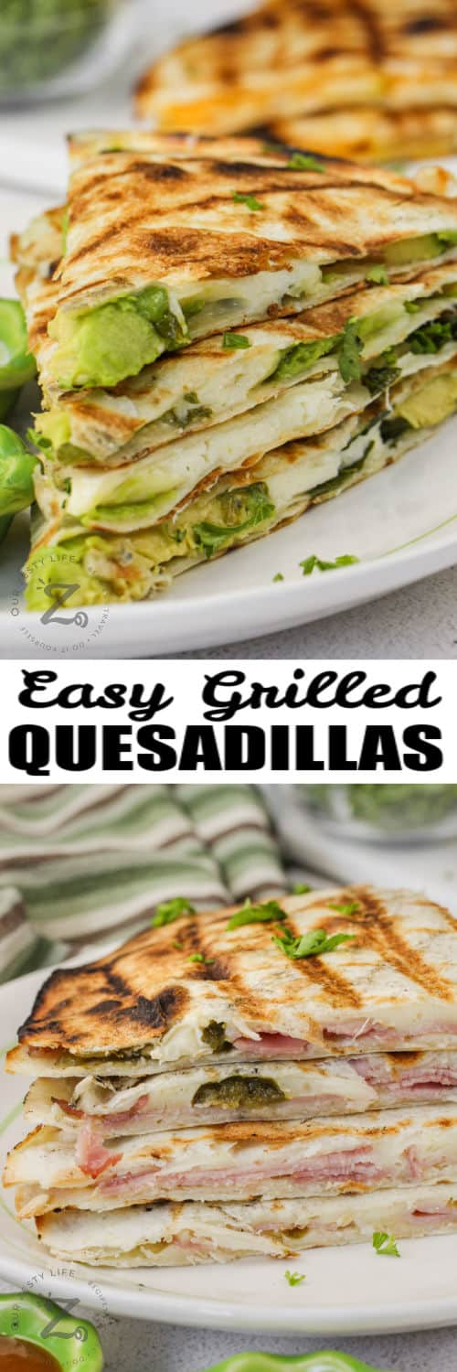 plated Grilled Quesadillas with a title