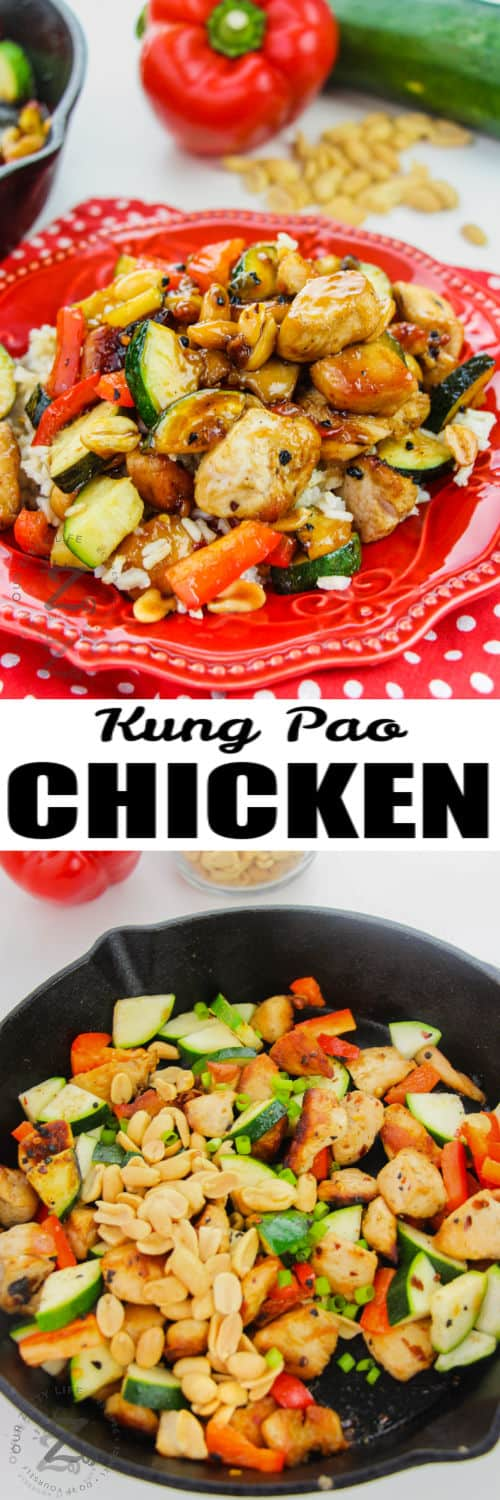 Kung Pao Chicken cooking in the pan and plated with a title