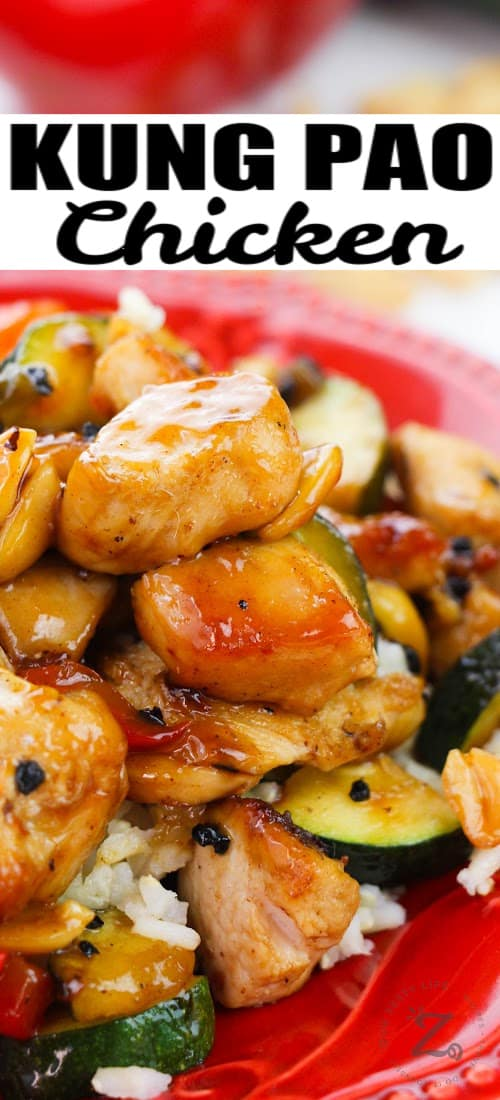 close up of Kung Pao Chicken with a title