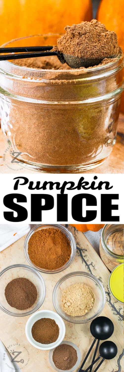 bowls of spices with jar full of Pumpkin Spice with writing