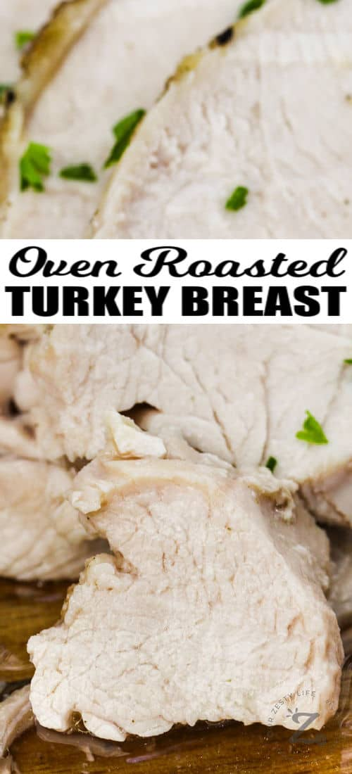 close up of Roast Turkey Breast with a title