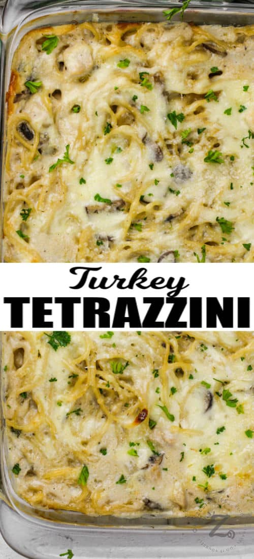 top view of Turkey Tetrazzini cooked in the casserole dish with writing