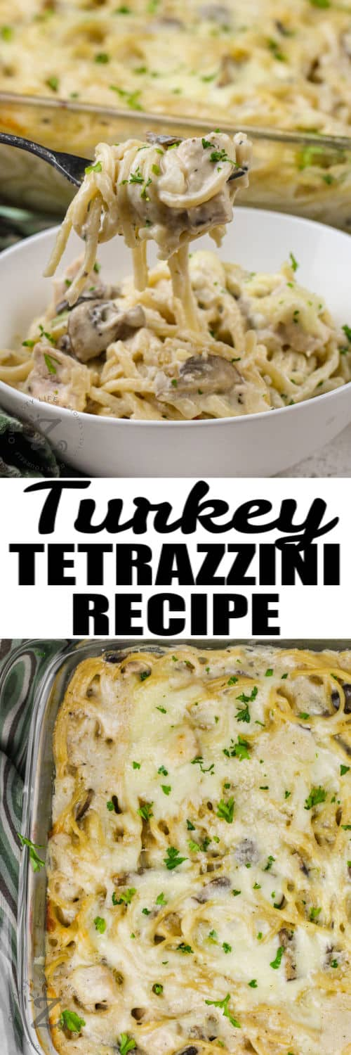 Turkey Tetrazzini baked in the dish and plated with writing