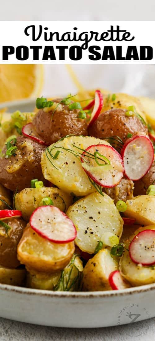 close up of Vinaigrette Potato Salad with a title