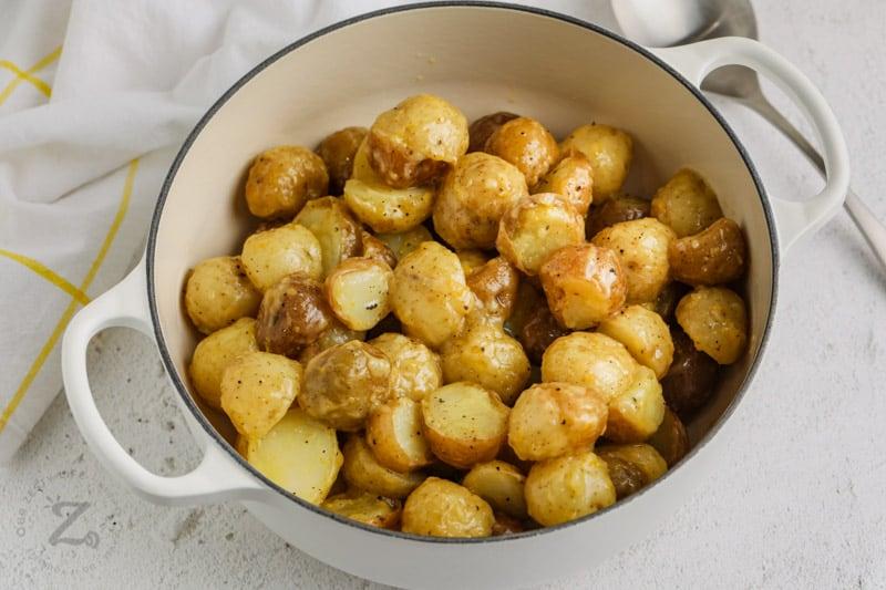 potatoes in the pot to make Vinaigrette Potato Salad