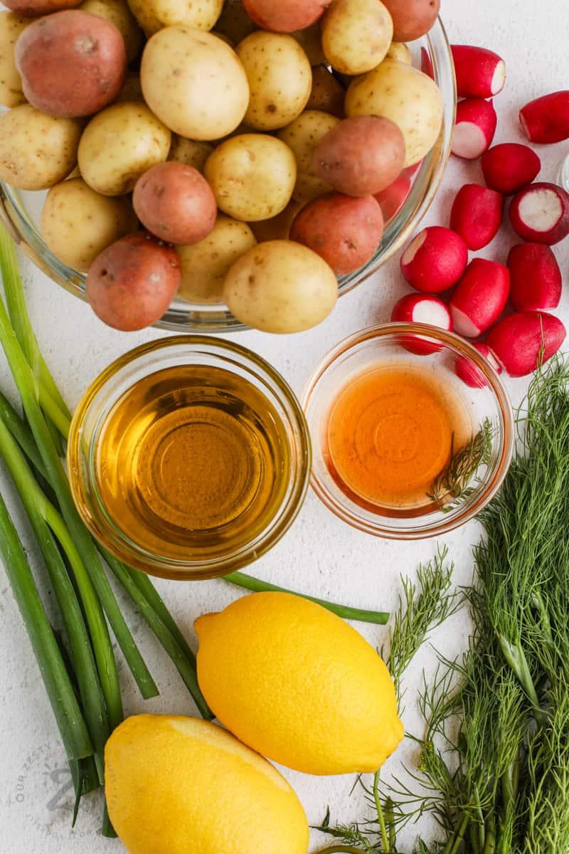 Vinaigrette Potato Salad ingredients